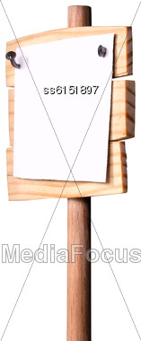 Extended Sideways Wooden Pointer Nailed To It With Nails White Paper With Empty Place For Text. All Made By Me Stock Photo