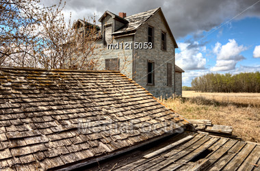 Exterior Abandoned House Prairie Saskatchewan Canada Stock Photo