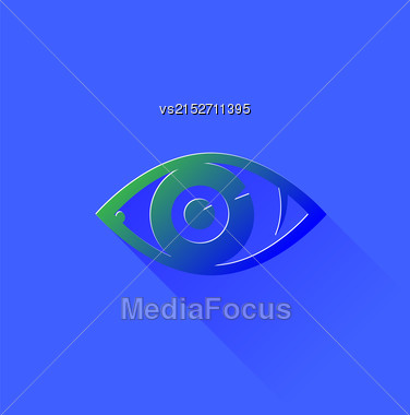 Eye Icon Isolated On Blue Background. Eye Symbol. Long Shadow Stock Photo