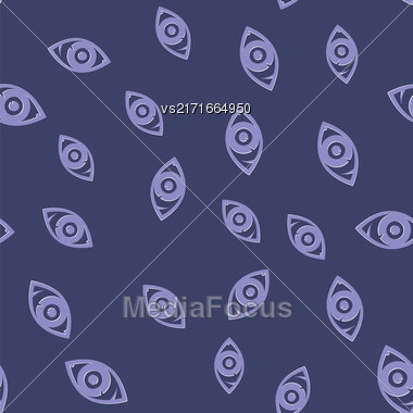 Eye Icon Seamless Pattern On Blue Background Stock Photo