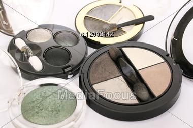 Eye Shadows On Gray Background. Stock Photo
