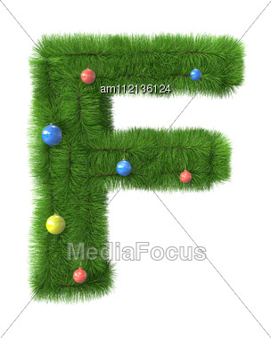 F Letter Made Of Christmas Tree Branches Stock Photo
