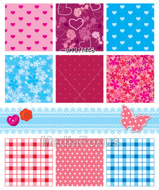 Fabric Textures In Pink And Blue Colors - Seamless Patterns Stock Photo