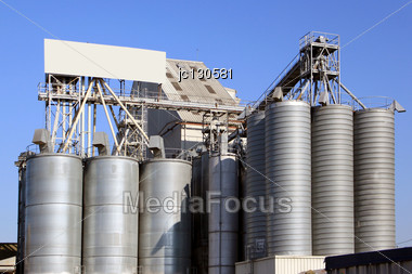 Factory For The Processing Of Cereals For Food For Cattle Stock Photo