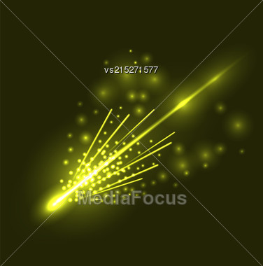 Falling Comet Isolated On Nignt Sky Background Stock Photo