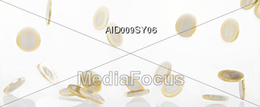 Falling Euro Coins Stock Photo