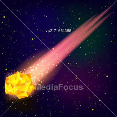 Falling Orange Meteor On Blue Starry Sky Background Stock Photo