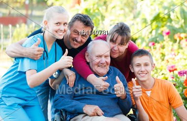 Family Being Satisfied With The Medical Attendance Stock Photo