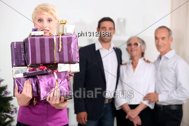 Family Celebrating Christmas Stock Photo
