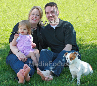 Family in the Yard Stock Photo