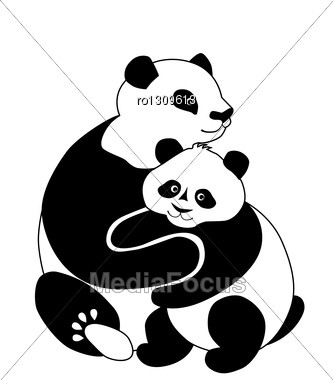 Family Of Pandas Stock Photo