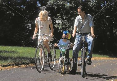 Family on Bike Ride Stock Photo
