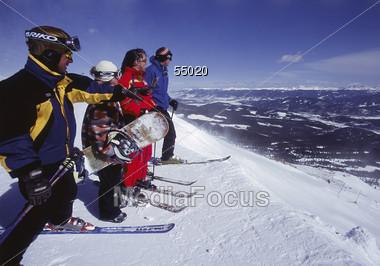 Family Ready to Ski Stock Photo
