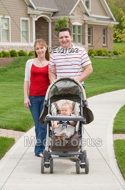 Family Taking a Walk Stock Photo