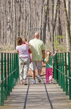 Family Taking a Walk Stock Photo