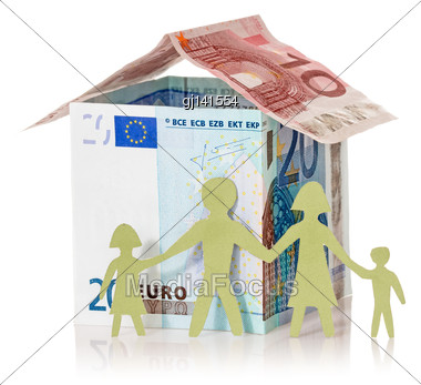 Family And Their Euro House Made From Banknotes On White Background Stock Photo