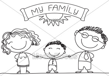 Happy Family Cartoon Black And WhiteHappy Family Cartoon Black And White