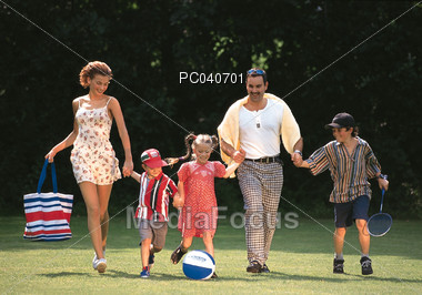 Family with Kids Outdoors Stock Photo