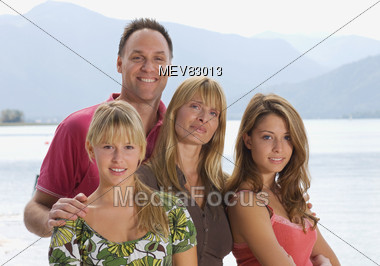 Family with Teenage Daughters Stock Photo