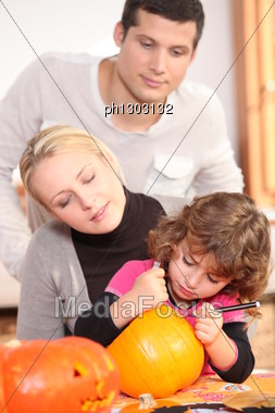 Family Writing Balloon Stock Photo