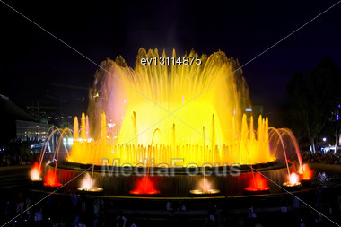 Famous Montjuic Fountain In Barcelona.Spain Stock Photo