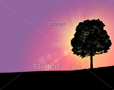 Fantastic Morning Over The Hills, Abstract Backgrounds Stock Photo