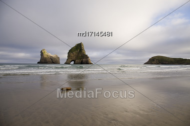 Farewell Spit New Zealand Beach Rock Haystacks Stock Photo