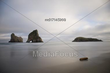 Farewell Spit New Zealand Beach Rock Haystacks Stock Photo