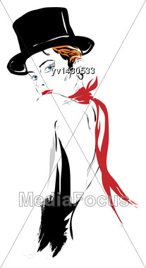 Fashion Girl In Sketch-style. Vector Illustration Stock Photo