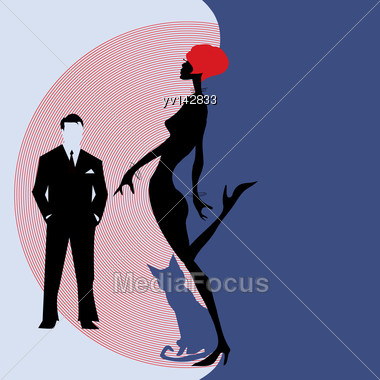 Fashion Girlon A Blue Background With A Cat. Vector Illustration Stock Photo