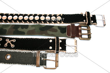 Fashionable Belts Isolated On The White For Cool People. Stock Photo