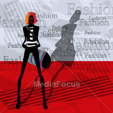 Fashionable Girl With A Bag On A Red Background Stock Photo