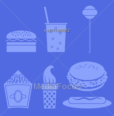 Fast Food Icons Isolated On Blue Background Stock Photo
