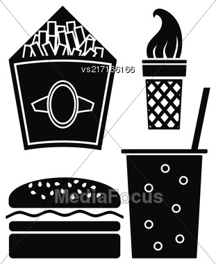 Fast Food Icons Isolated On White BAckground. Hamburger Icon. Ice Cream Icon. Fried Potatoes Icon. Cold Drink Icon Stock Photo