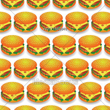 Fast Food Pattern. Fresh Hamburger Background. Fast Food Background Stock Photo