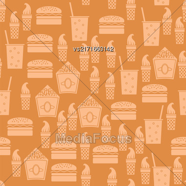 Fastfood Silhouette Seamless Pattern On Orange Background Stock Photo