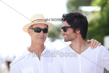 Father And Son On A Holiday Trip. Stock Photo