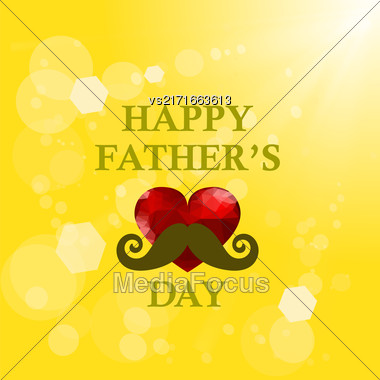 Fathers Day Banner On Yellow Summer Sun Background Stock Photo