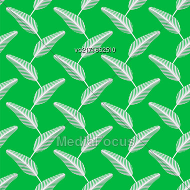 Feather Pen Seamless Pattern On Green Background Stock Photo
