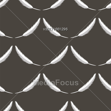 Feather Pen Seamless Pattern On Grey Background Stock Photo