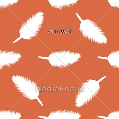 Feather Pen Seamless Pattern On Orange Background Stock Photo