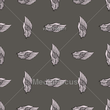 Feather Wings Seamless Pattern On Grey Background Stock Photo