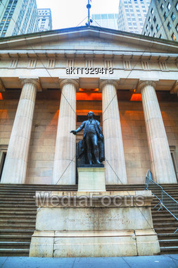 Federal Hall National Memorial At Wall Street In New York In The Morning Stock Photo