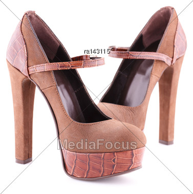 Female Brown Shoes Isolated On White Background Stock Photo