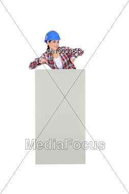 Female Builder Stood With Poster Stock Photo