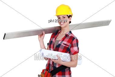 Female Carpenter. Stock Photo