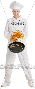 Female Chef with Frying Pan Stock Photo