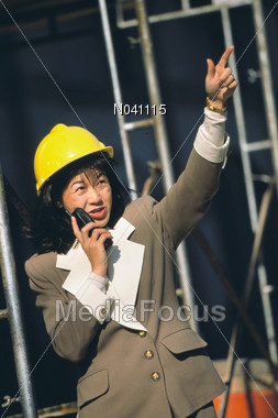Female Construction Worker Stock Photo