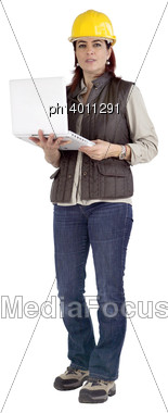 Female Construction Working Holding A Laptop Stock Photo