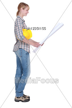 Female DIY Fan With Plans Stock Photo